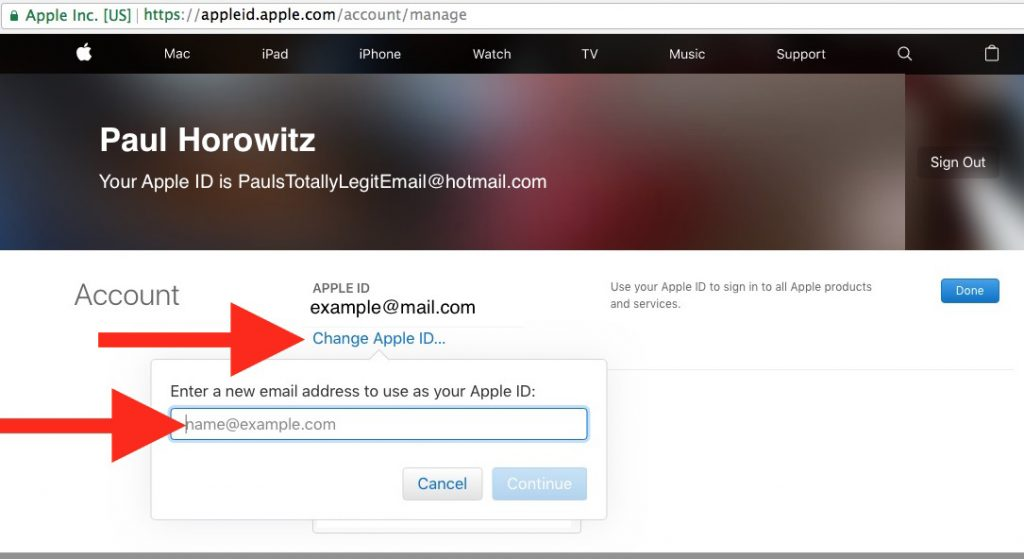 Change Apple id Email