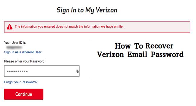 Verizon email password recovery