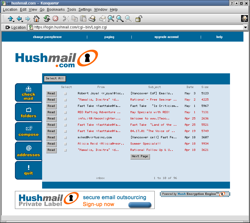 Recover the Hushmail Account Password